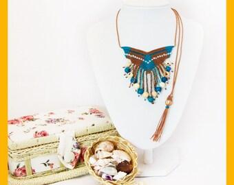 Ethnic Summer macrame necklace, boho macrame jewelry, macrame with acai seeds