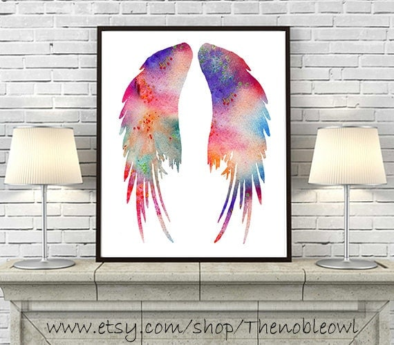 Watercolor Art Print Angel Wings Art Printcolorful Watercolor