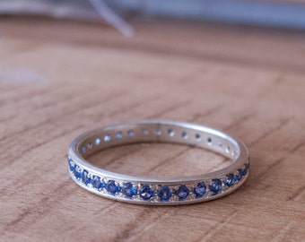 Blue Sapphire Eternity ring White gold or Silver