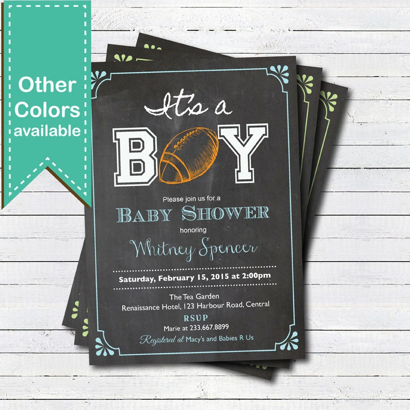 football baby shower | etsy, Baby shower invitations