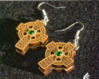 Timber Celtic Cross Earrings