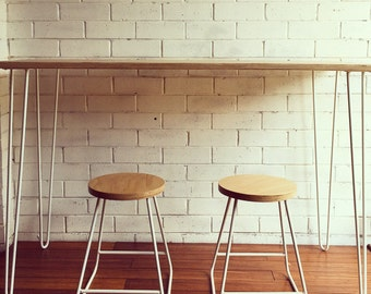 Plywood 2 rod hairpin leg desk by littleredindustries on etsy for Plywood table hairpin legs