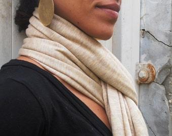 Bohemian Scarf, Beige Scarf, Jersey Scarf, Long scarf, Shawl Wrap, Four Seasons, Scarf Knit, Womens Accessories, Womens Fashion, Scarf, Boho