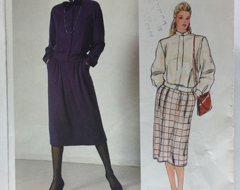 Vintage 80's Vogue 1186 Oscar de la Renta Misses' Top and Skirt size 10  Pattern uncut