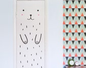 Door decal - Haru the Happy Bear / Wall decal for doors, windows or closets / Nursery decor / Bear Vinyl Sticker