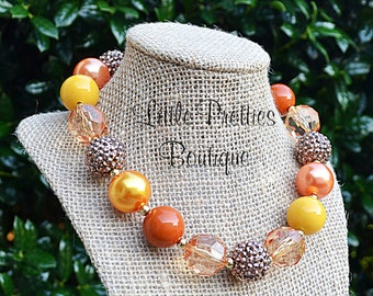 Fall Colors Bubblegum Necklace, Chunky Necklace, Statement Necklace, Children's Necklace, Girl's Necklace, Thanksgiving Necklace, BN49