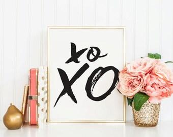XO XO - Instant Download - 8x10 - 11x14 - Love - Hugs and Kisses - Printable art - Handwritten - Home Decor