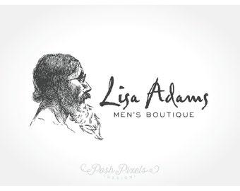 Logo Design (Premade) Masculine logo, Hand drawn logo, Beard Logo, Photography Logo, Boutique Logo, Unique Logo