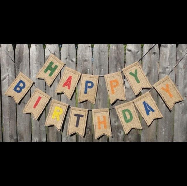 10ft Personalized Happy Birthday Burlap Banner Rustic Birthday