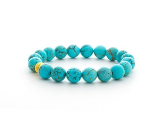 Gold Howlite Turquoise Bracelet/ Teal Turquoise Bracelet/ Gold Turquoise Bracelet/ Howlite Turquoise Jewelry