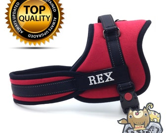Personalized Dog Harness, Happy Pet Harness, Dog Harness Step In, dog harness no pull, FREE Customized Embroidery Dog name & info - RED