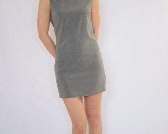 open back sexy dress/ Cowl back dress / Black mini dress/ Gray mini dress