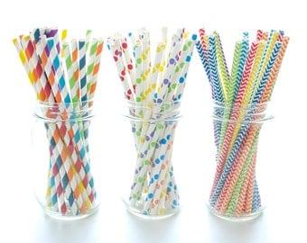 Rainbow Assorted Party Straws, Chevron Straws, Stripe Stirrer Straws, Polka Dot Drink Stirs, 75 Pack - Rainbow Paper Straws