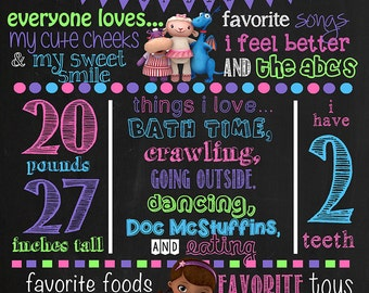 Doc McStuffins Birthday Chalkboard Poster DIGITAL FILE