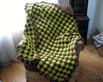 Reduced Price | Hand Crocheted Green/Brown Checked Tunisian Entrelac Afghan | Checked Blanket | Checked Throw | Afghan | Blanket | Throw