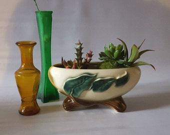 Vintage Ceramic Planter by Royal Copley, Cream Color, Green Leaves Vine