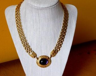 Trifari Purple and Gold Necklace