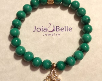 Genuine Malachite stretch bracelet with Yellow Gold plated details