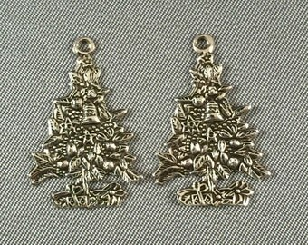 Two (2) Christmas Tree .925 Sterling Silver Charms