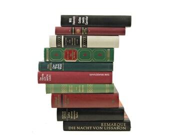 GERMAN Vintage Books, 1950s Decorative Books, Old Books, Green Book Collection, Vintage Books, Red Book Set, Instant Library, German Decor