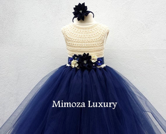 Ivory Navy Flower girl dress, Ivory and Navy tutu dress, navy cream bridesmaid dress, cream navy blue princess dress, ivory navy wedding