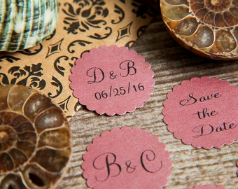 100+ Raspberry Purple Pink Save the Date Envelope seals, wedding stickers invitations. Printed Scalloped Round wedding Favour stickers. Matt