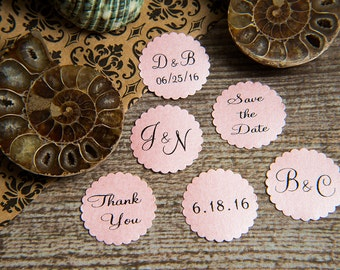 25 Baby Pink Save the Date, Printed Envelope seals, wedding stickers invitations. Scalloped Round Favour stickers. Matt Pearlised shimmer