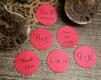 100+ Red Save the Date Envelope seals, wedding stickers invitations. Printed Scalloped Round wedding Favour stickers. Matt