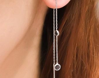 Black threader earrings sterling silver, double black cz, ear chain earrings, long ear threader CE03