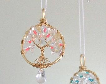 Glass Citrine Aquamarine Clear Quartz Tree of Life Sun catcher Car Mirror Charm Hanger Pendant