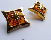 The Starlite, Amber Vintage Inspired Earrings