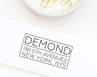 Modern Block Return Address Stamp, Wedding Address Stamp, Personalized Stamp, Custom Address Stamp, Self-Inking Address , Stamp No. 110