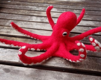 Needle felted red octopus doll