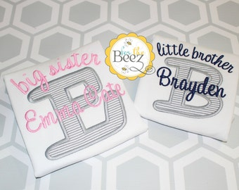 Big Sister Little Brother Set, Sibling Set, Big Sister Little Brother, Sibling Shirts, Big Sister Little Brother Outfits, Embroidered