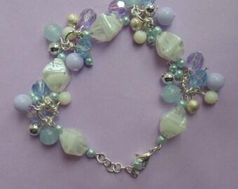 Violet & Baby Blue Cluster Bead Bracelet