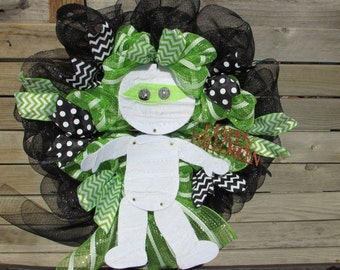 "24"" Halloween Wreath Halloween Door Decor Halloween Deco Mesh Wreath Mummy Wreath Happy Halloween Wreath Green Black Wreath Mummy Decor"