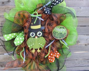 "25"" Halloween Wreath Happy Halloween Wreath Halloween Owl Wreath Halloween Deco Mesh Wreath Halloween Owl Wreath Halloween Owl Door Decor"