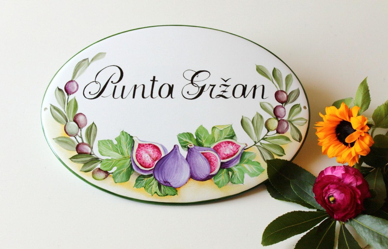 Targhette In Ceramica Per Porte.Targhetta In Ceramica Nome Di Famiglia Stile Liberty Olalla
