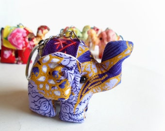 10 elephant keychains, Elephant keychain, Animal keychain, Stuffed elephant, Elephant fabric, Key ring, Gift