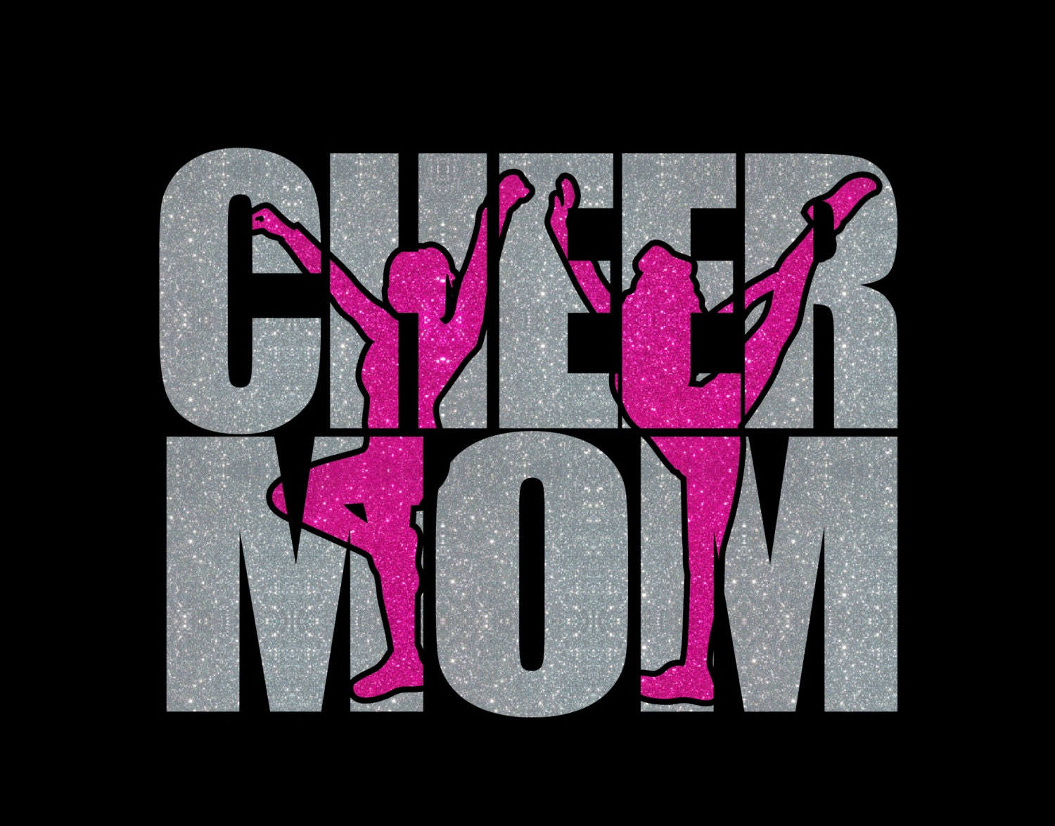 custom cheer mom glitter vinyl heat transfer decal spirit wear from mycreativeoutlettime on etsy