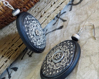 Black Stone & textile earrings, silver thread embellished, antiqued silver alloy and bead detail. Colours of black and creme