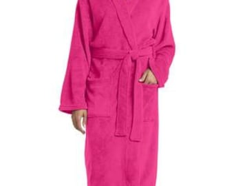 Plush Microfleece Shawl Collar Robe - Ladies/Womens (R102) - Embroidery