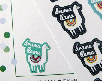 Drama Llama Stickers for Erin Condren Planner, Filofax, Plum Paper