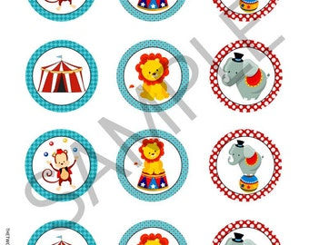 """INSTANT DOWNLOAD CIRCUS Cupcake Toppers 2"""" Circle Circus Theme Birthday Printables"""