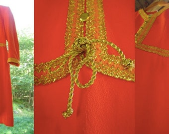 Vintage 1970s Gold and Orange Autumn Dress // 70s woodstock // psychedelic style // NOS hippie