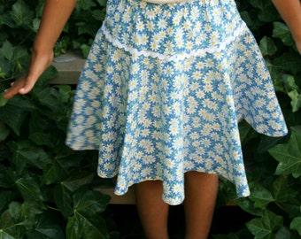 summer twirl skirt girls size 5-7 daisy skirt