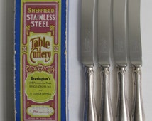 Vintage Set of 4 Stainless knives, Art Nouveau Old Sheffield Mappin and Webb collectable cutlery flatware dinner knives, made in England