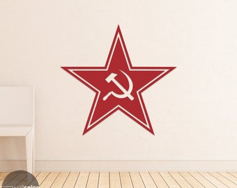 Hammer And Sickle Star Outline Vinyl Decal Sticker Russia Soviet Union Communism