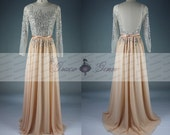 Backless Prom Dress,Sheer Long Sleeve Womens Formal Evening Dress,Beaded Prom Dress,Evening Long Gown,Pageant Gown,Champagne Prom Dress 2016
