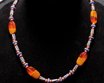 Necklace Orange-Candy Flower Blue Necklace